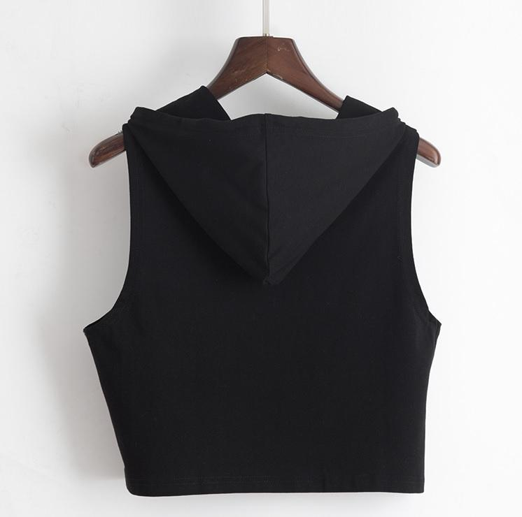 itGirl Shop BLACK WHITE HOODED SLEEVELESS CROP TOP