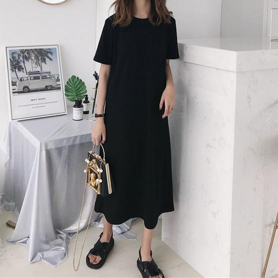 itGirl Shop BLACK WHITE LONG ROUND NECK LOOSE SHIRT DRESS