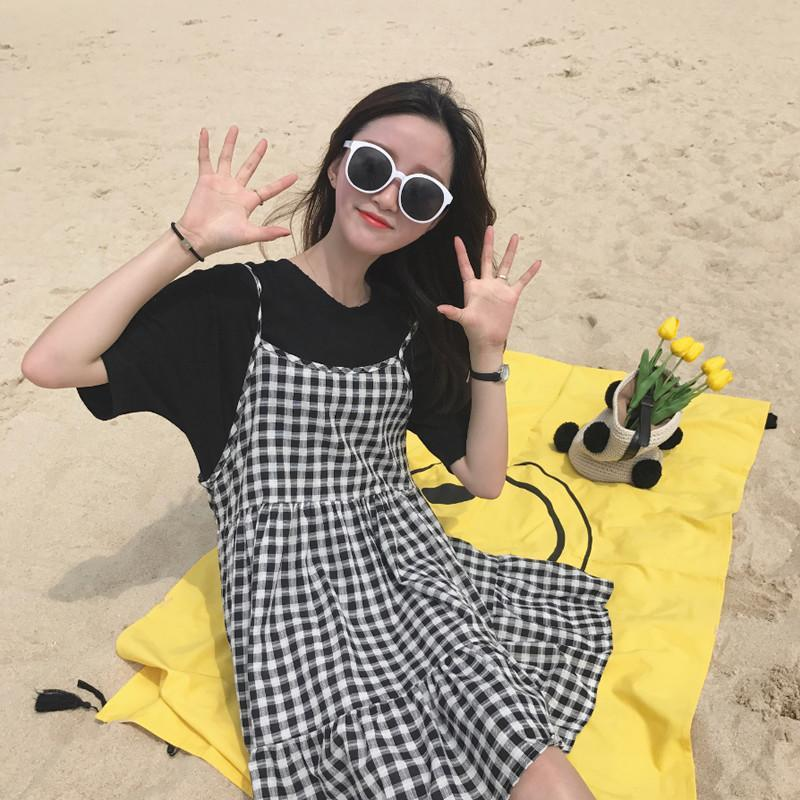 itGirl Shop BLACK WHITE PLAID SUMMER SLEEVLESS DRESS