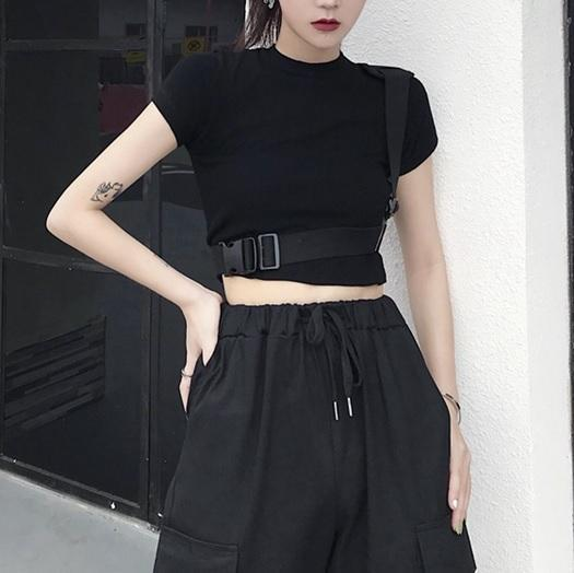 BLACK WHITE STRAPS GRUNGE AESTHETIC SLIM CROP TOP