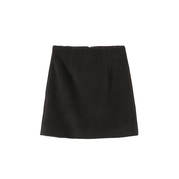 itGirl Shop BLACK WOOLEN A LINE HIGH WAIST SKIRT