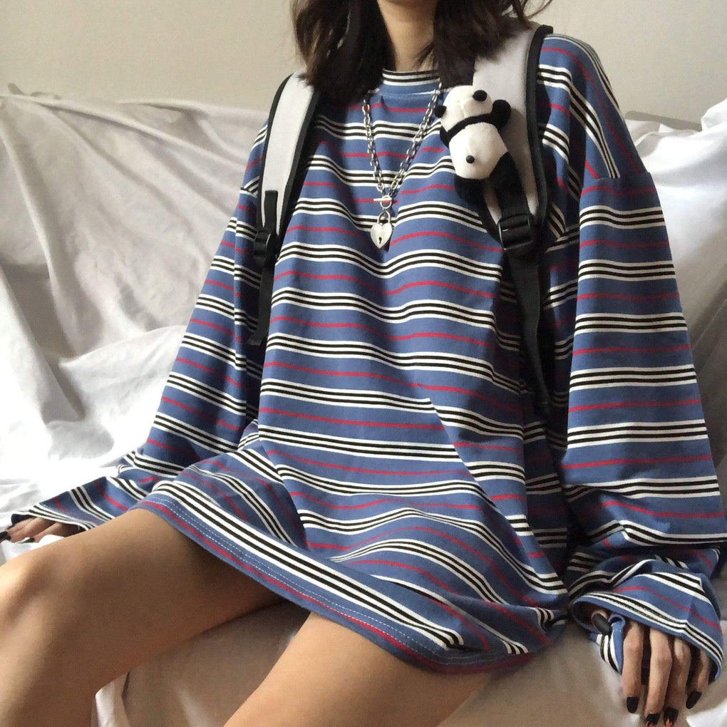 itGirl Shop BLUE AESTHETIC STRIPED OVERSIZE LONG SLEEVE T-SHIRT