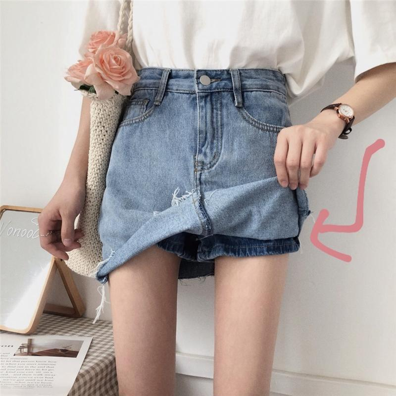 itGirl Shop BLUE BASIC DENIM PENCIL JEAN SKIRT RIPPED EDGE WITH HIDDEN SHORTS