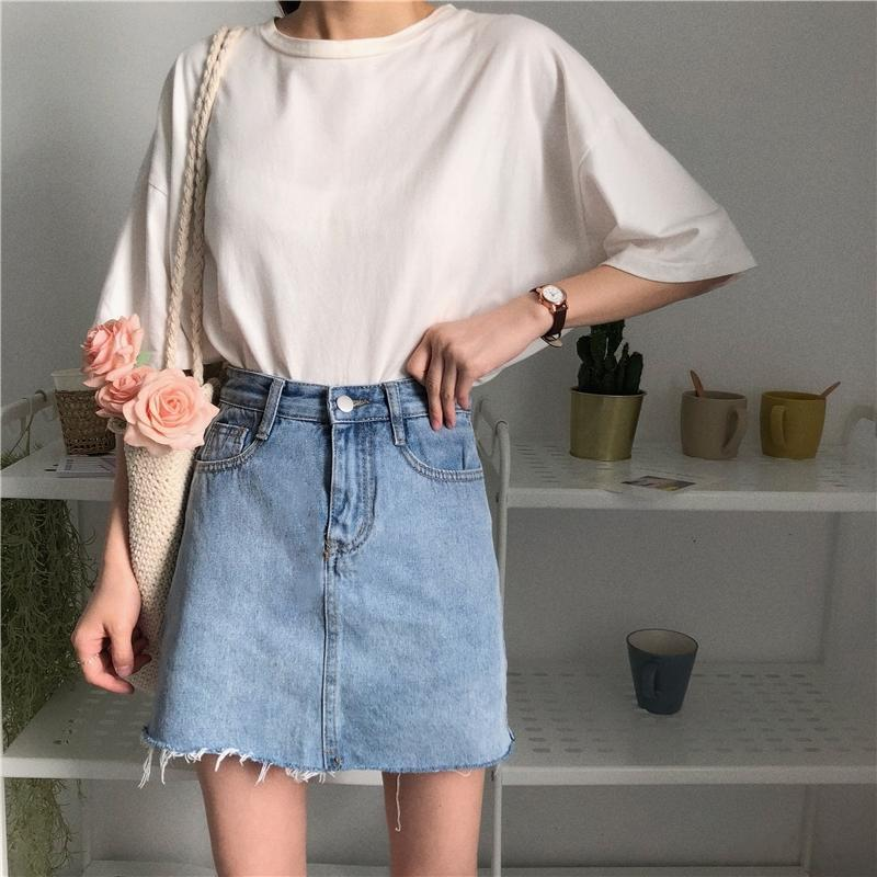 itGirl Shop BLUE BASIC DENIM PENCIL JEAN SKIRT RIPPED EDGE WITH HIDDEN SHORTS Aesthetic Apparel, Tumblr Clothes, Soft Grunge, Pastel goth, Harajuku fashion. Korean and Japan Style looks