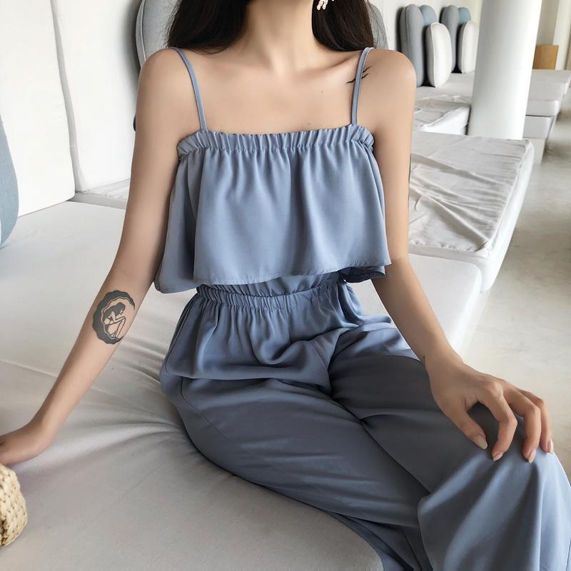 itGirl Shop BLUE BLACK ELEGANT SLEEVELESS ELASTIC TOP 2 PIECE SUIT LONG PANTS SET