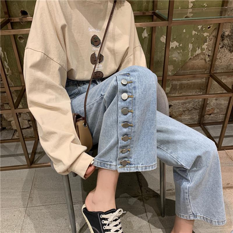 BLUE BUTTONS VINTAGE AESTHETIC STRAIGHT DENIM PANTS