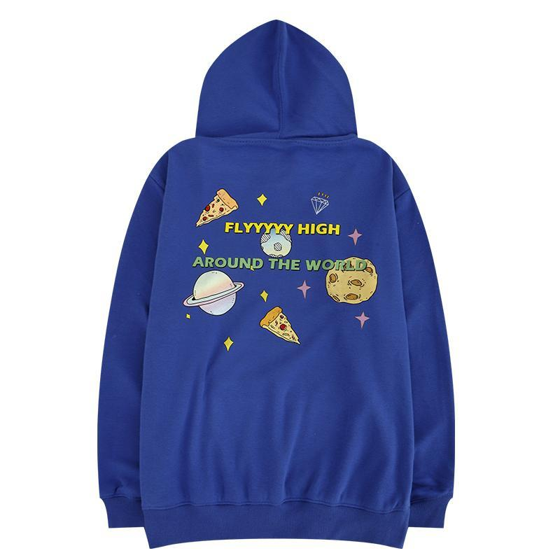 BLUE CUTE PLANETS LETTERS BACK PRINT LOOSE HOODIE