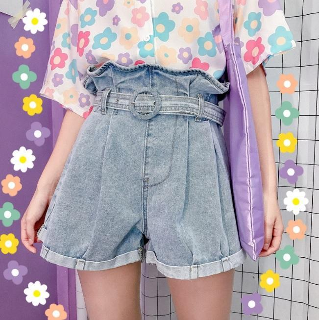 BLUE DENIM HIGH WAIST WIDE LOOSE SHORTS