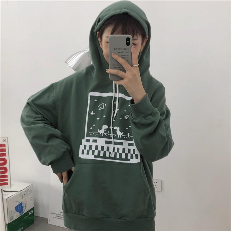 itGirl Shop BLUE GREEN RETRO VIDEO GAME PRINT E GIRL SWEATSHIRT