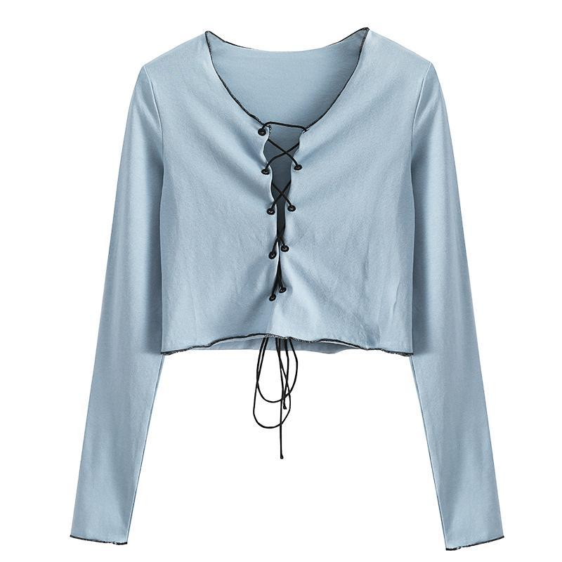 itGirl Shop BLUE LACED SHORT THIN LONG SLEEVE SHIRT