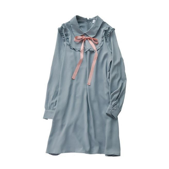 itGirl Shop BLUE LOLITA CHIFFON COLLAR PINK SILK RIBBON OVERSIZED DRESS