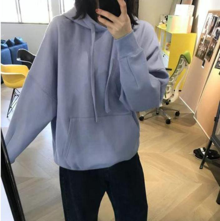itGirl Shop BLUE SOLID COLOR OVERSIZED HOODED SWEATSHIRT