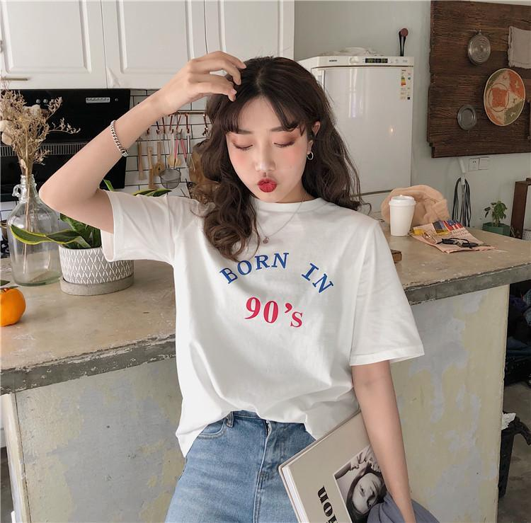 itGirl Shop BORN IN 90'S PRINT LETTERS COTTON SHORT SLEEVE T-SHIRT