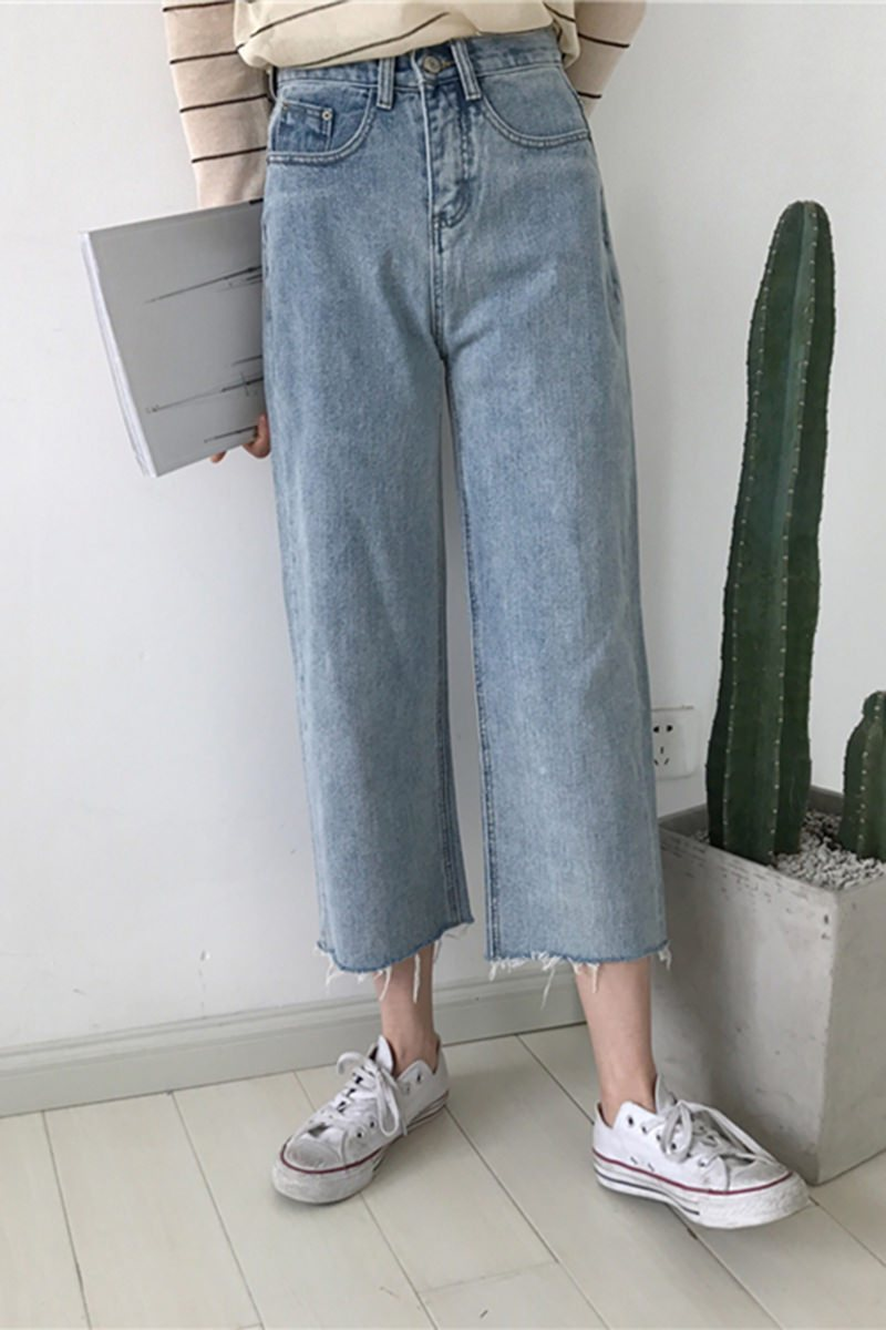Itgirl Shop Boyfriend Oversized Blue Denim High Waist Jeans