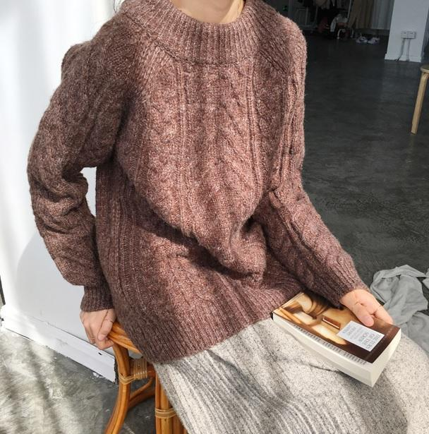 itGirl Shop BRAID KNIT CWARM COZY BASIC SWEATER