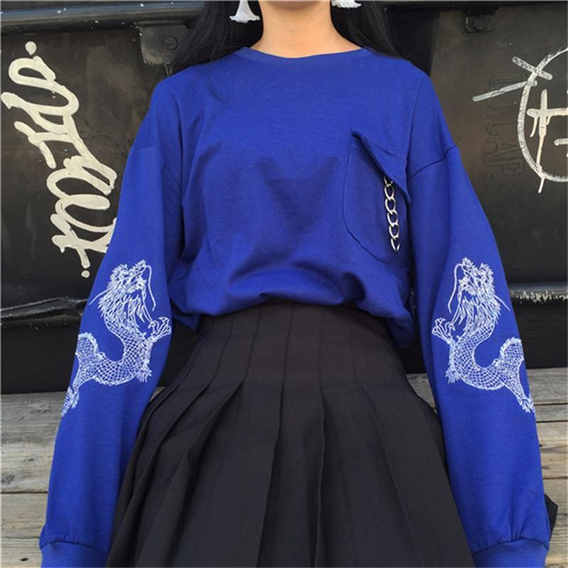 itGirl Shop BRIGHT BLUE BLACK CHINA DRAGON SLEEVE PRINT POCKET CHAIN SWEATSHIRT Aesthetic Apparel, Tumblr Clothes, Soft Grunge, Pastel goth, Harajuku fashion. Korean and Japan Style looks