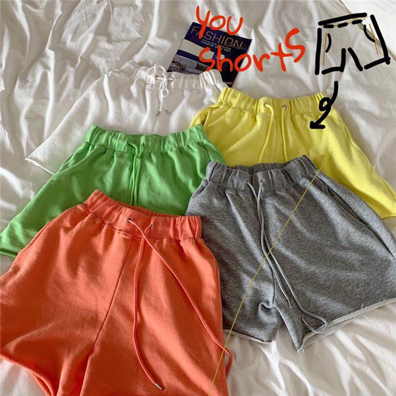 BRIGHT COLORS ELASTIC WAIST COMFY LOOSE SHORTS