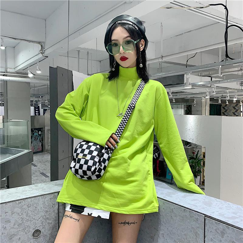 itGirl Shop BRIGHT GREEN CHECKERED BLACK AND WHITE LONG SLEEVE
