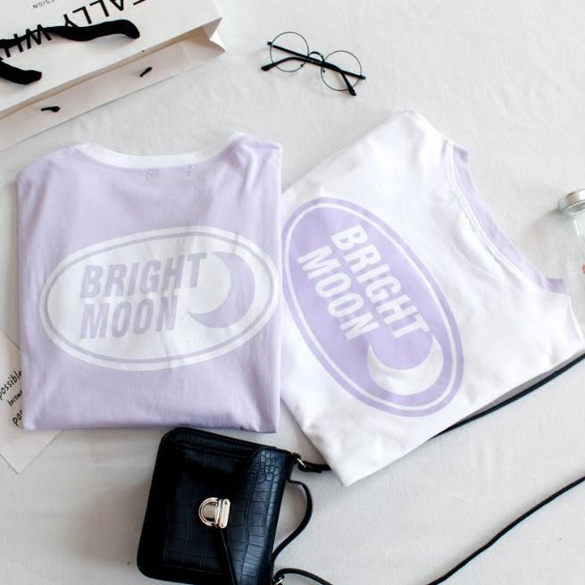 itGirl Shop BRIGHT MOON PASTEL PURPLE PRINT OVERSIZED T-SHIRT