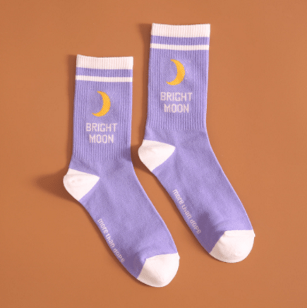 itGirl Shop BRIGHT MOON SUGAR PURPLE HIGH ANKLE SOCKS