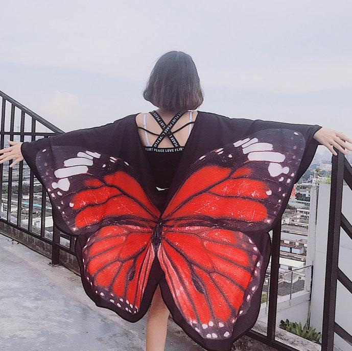 itGirl Shop BUTTERFLY WINGS PRINT LOOSE BLACK HIPPIE CLOAK