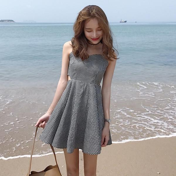 itGirl Shop BW PLAID WAIST DOUBLE CUTS SLIM SUMMER DRESS