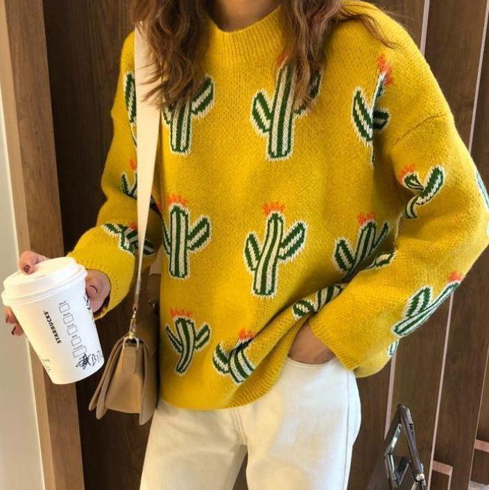 itGirl Shop CACTUS PATTERN YELLOW BLUE BEIGE KNIT OVERSIZED SWEATER