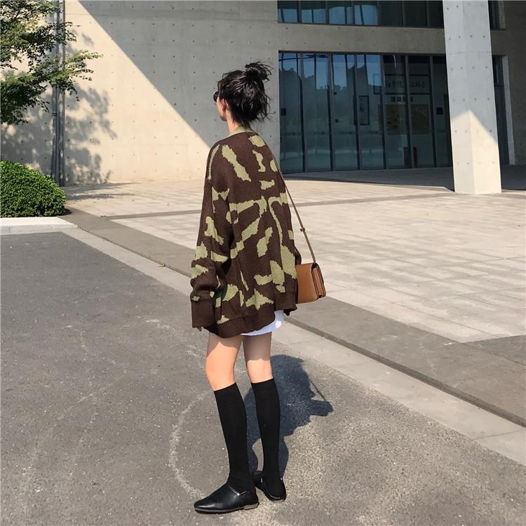 itGirl Shop CAMOUFLAGE KNITTED OVERSIZED CARDIGAN