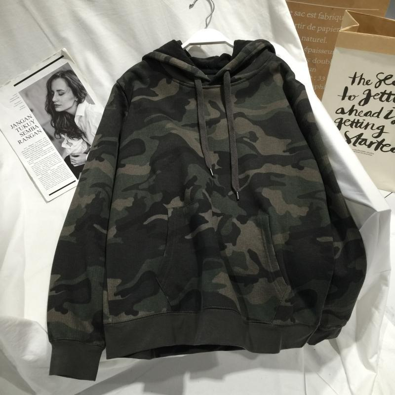 itGirl Shop CAMOUFLAGE PATTERN OVERSIZED HOODED SWEATSHIRT