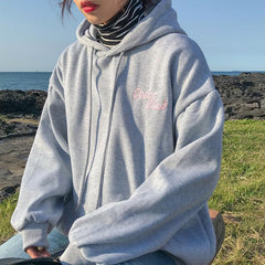 CANDY COLORS LETTERS EMBROIDERY LOOSE HOODED SWEATSHIRT