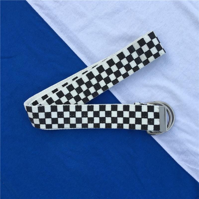 itGirl Shop CANVAS CHECKER GRUNGE UNISEX TEENAGE BELT