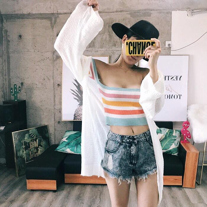 itGirl Shop CARAMEL COLORS RAINBOW OPEN SHOULDERS CROP TOP Aesthetic Apparel, Tumblr Clothes, Soft Grunge, Pastel goth, Harajuku fashion. Korean and Japan Style looks
