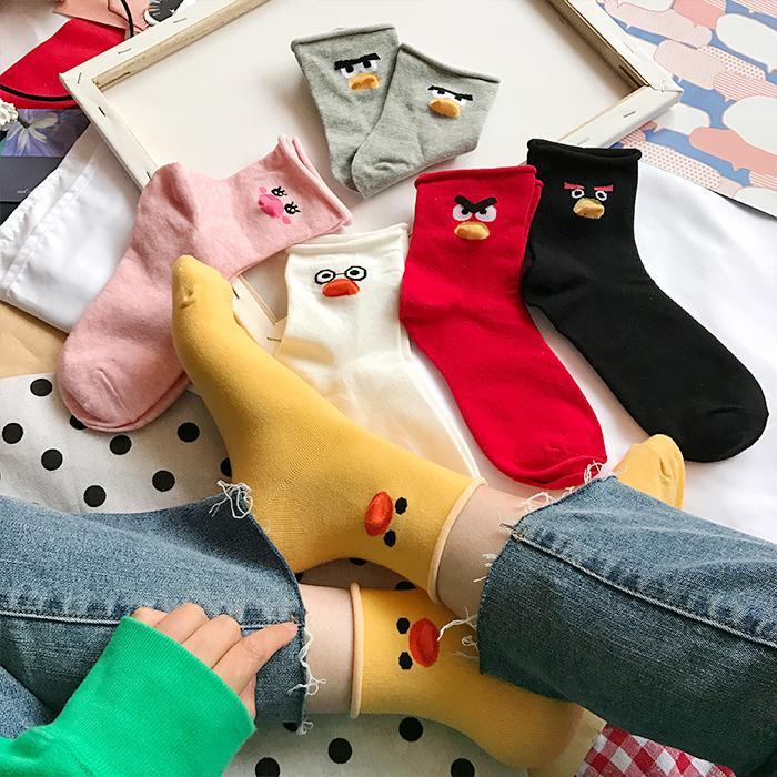 CARTOON ANIMAL BIRD DUCK PRINTED COTTON SOCKS