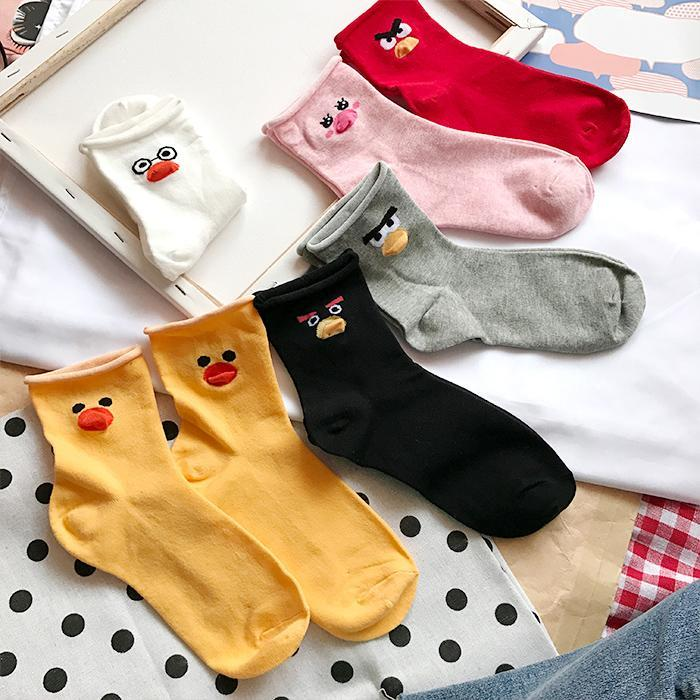 itGirl Shop CARTOON ANIMAL BIRD DUCK PRINTED COTTON SOCKS