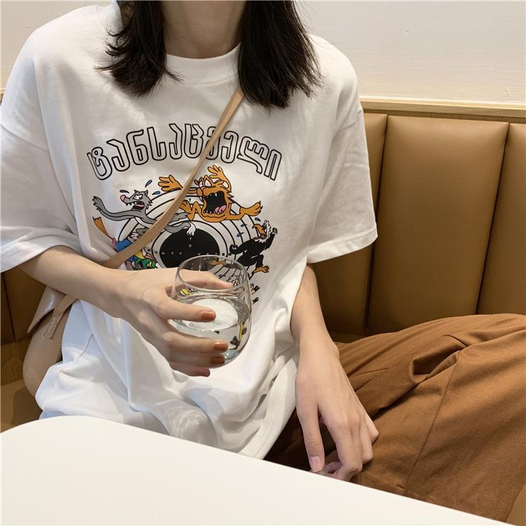 itGirl Shop CARTOON LETTERS PRINT ROUND NECK LOOSE T-SHIRT