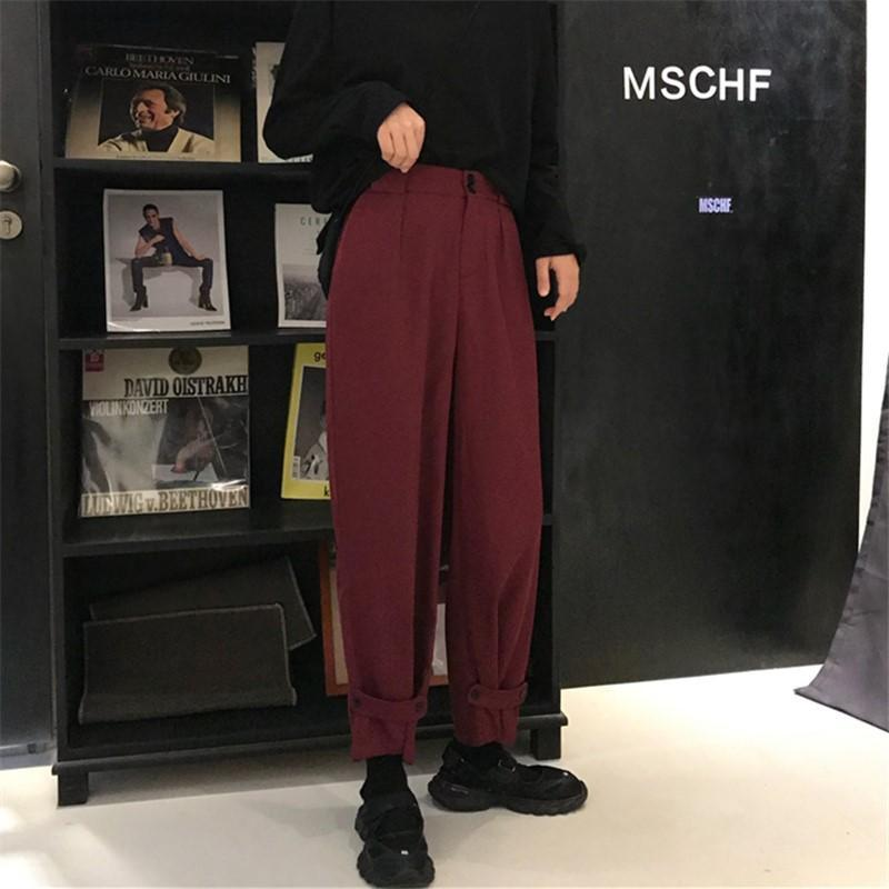 itGirl Shop CASUAL BLACK AND RED WINE OVERSIZED STRAIGHT PANTS