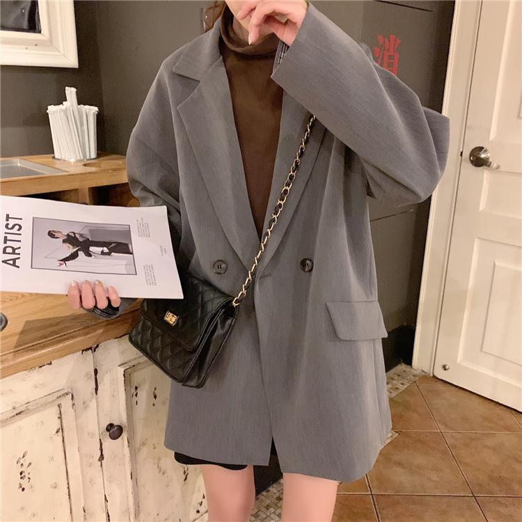 itGirl Shop CASUAL BLACK GRAY LOOSE BLAZER SUIT JACKET