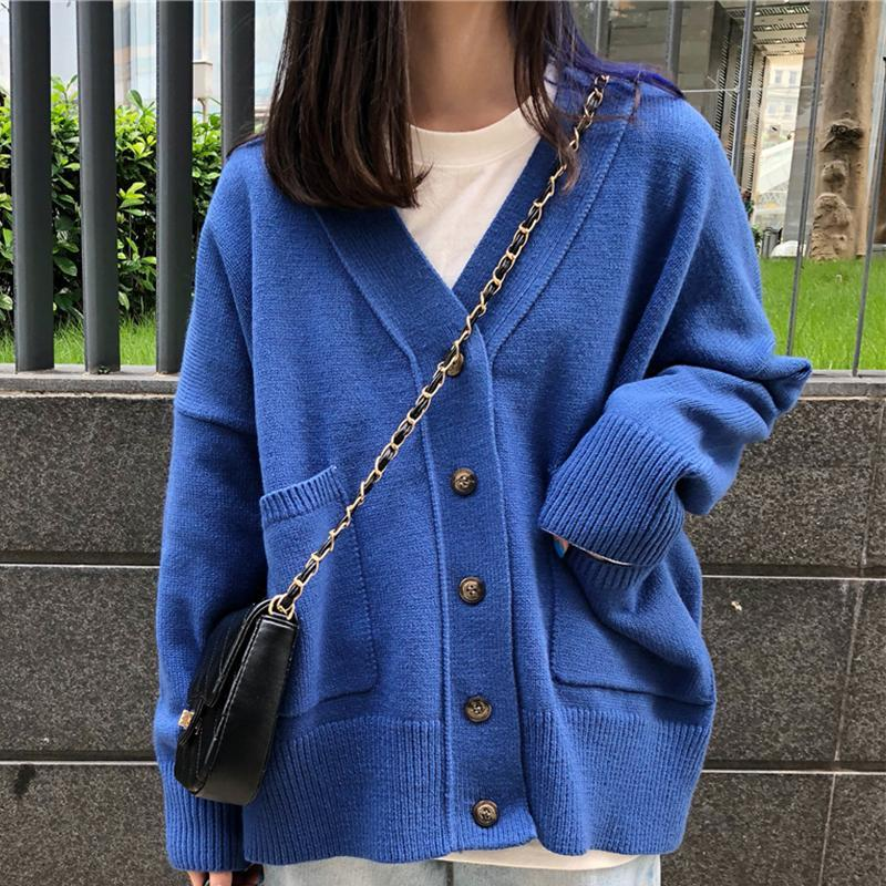 CASUAL COLORFUL POCKETS LOOSE KNIT SOFT CARDIGAN