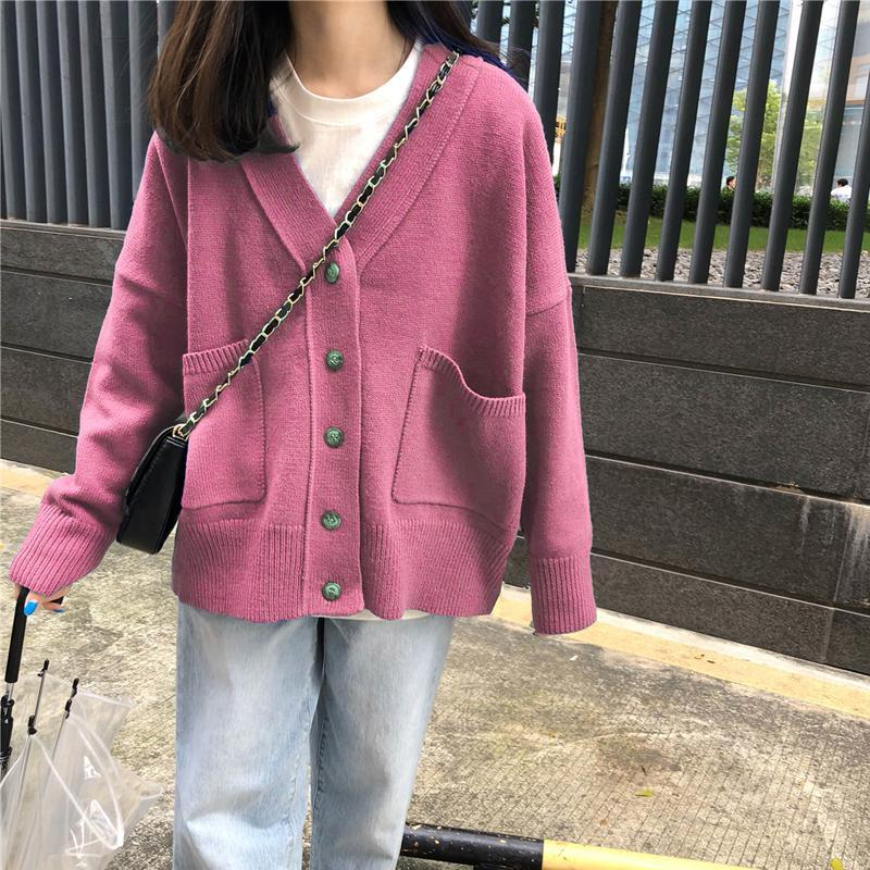 itGirl Shop CASUAL COLORFUL POCKETS LOOSE KNIT SOFT CARDIGAN