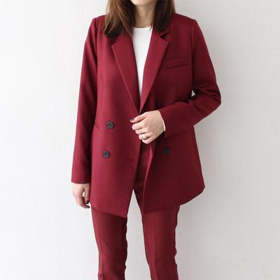 CASUAL ELEGANT TWO PIECE BLACK RED SUIT