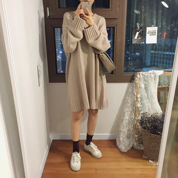 itGirl Shop CASUAL OVERSIZE SOLID COLORS LONG DRESS SWEATER