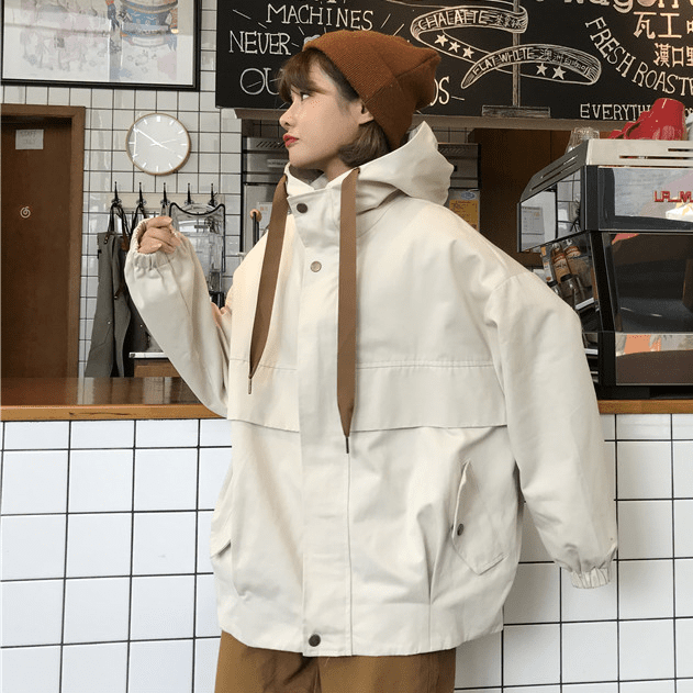 itGirl Shop CASUAL OVERSIZED HOODED SNAP-BUTTONS POCKETS WINDBREAKER