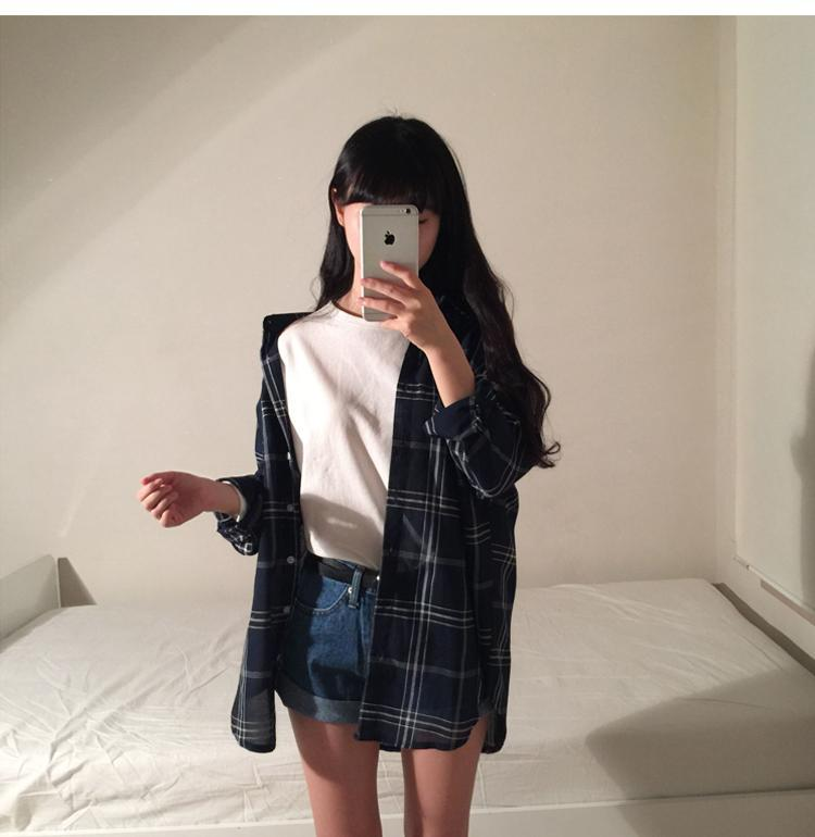 CASUAL PLAID LOOSE LONG SLEEVE POCKET SHIRT