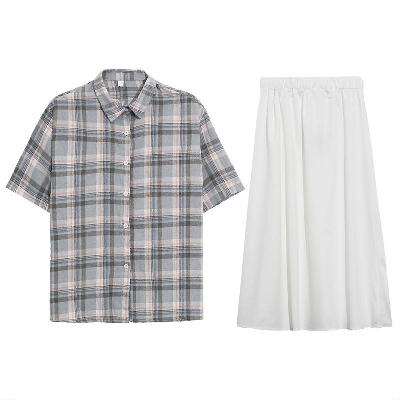 itGirl Shop CASUAL PLAID LOOSE SHIRT + WHITE MIDI SKIRT