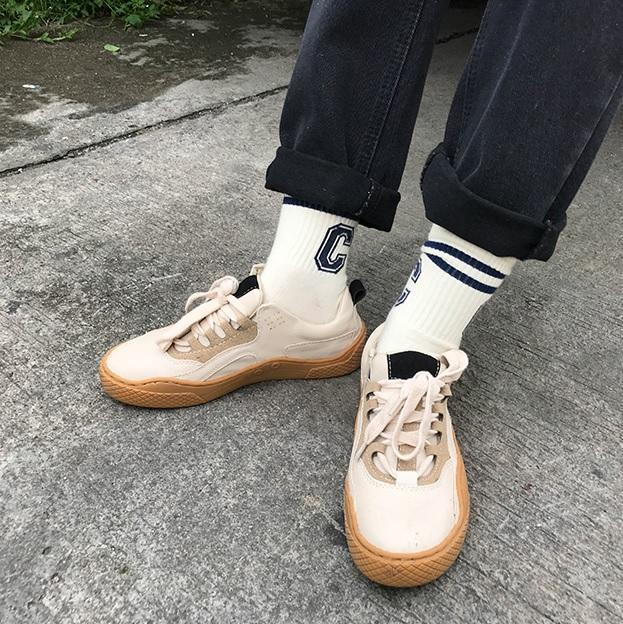itGirl Shop CASUAL RETRO BEIGE LACEUP WAVY BASE SNEAKERS