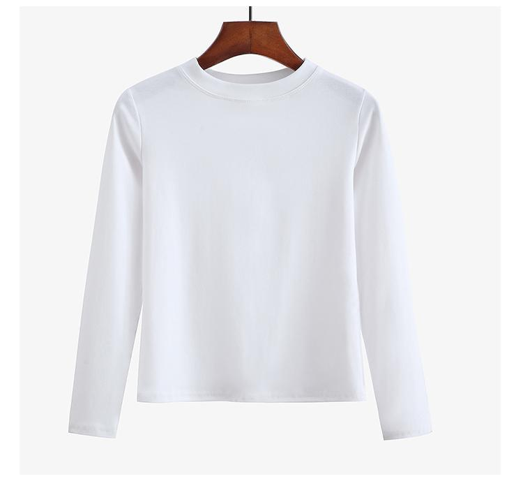 itGirl Shop CASUAL SOLID COLOR ROUND NECK LONG SLEEVE T-SHIRT