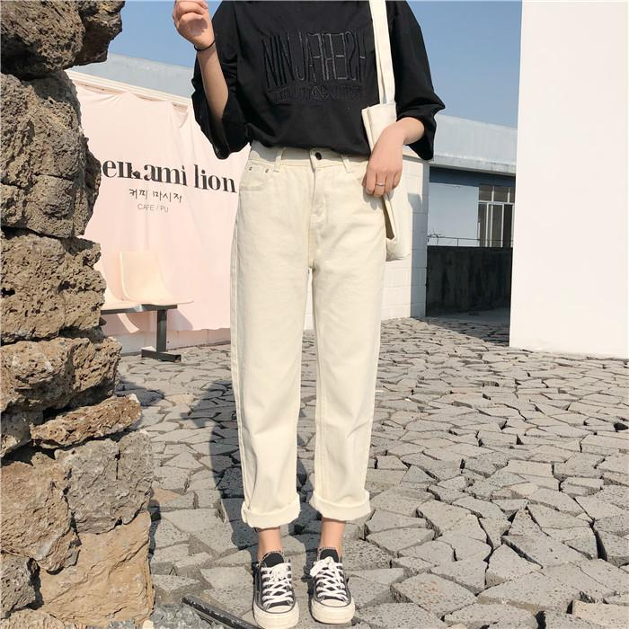 itGirl Shop CASUAL STRAIGHT HIGH WAISTED ROLLED UP PANTS