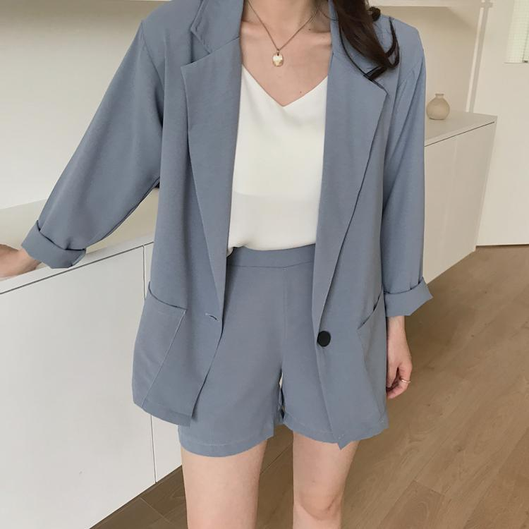 itGirl Shop CASUAL SUMMER THIN SHORTS + BLAZER 2 PIECE SUIT