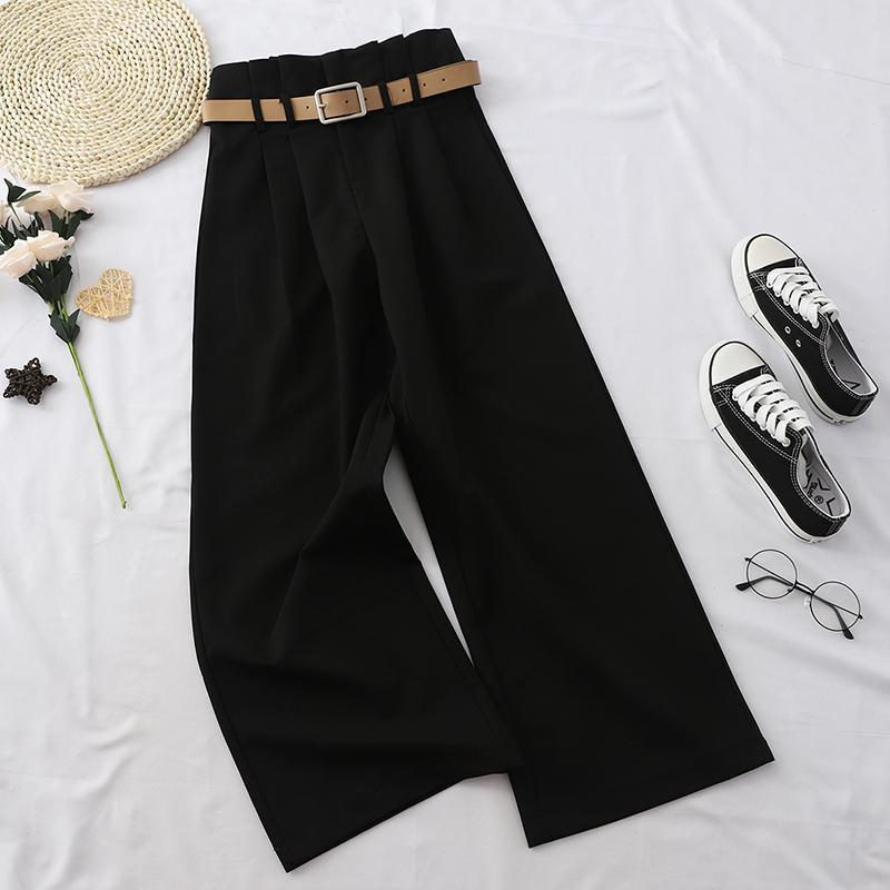 itGirl Shop CASUAL VINTAGE AESTHETIC HIGH WAIST WIDE PANTS WITH BELT
