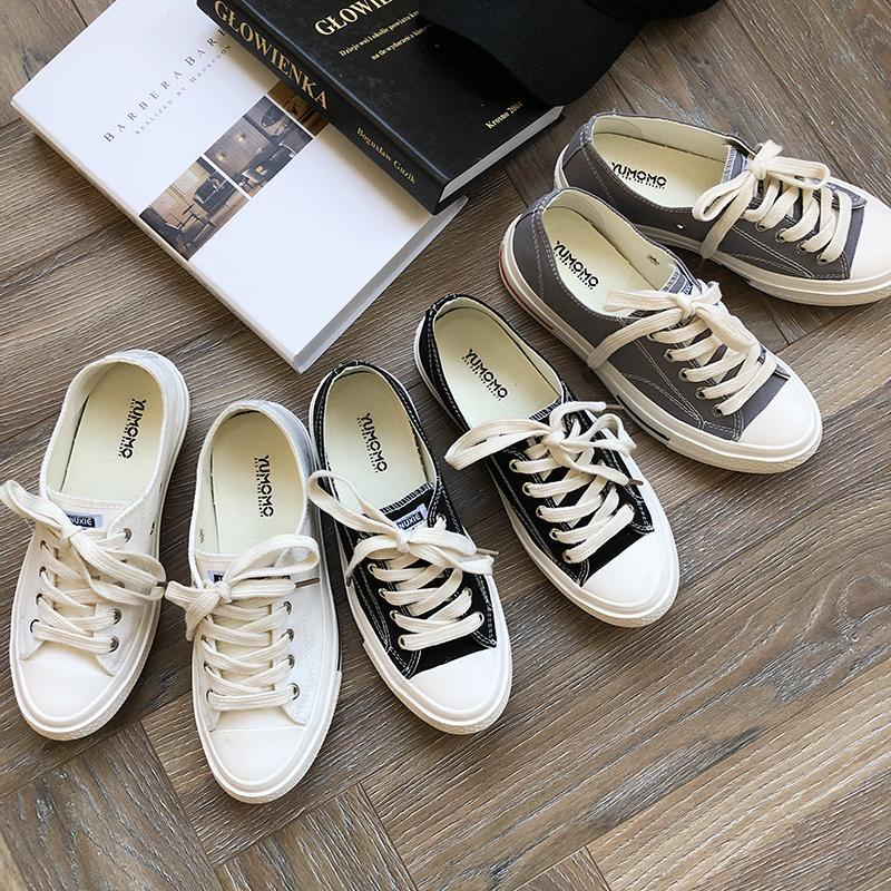 CASUAL WHITE TOE LACE UP CANVAS SNEAKERS